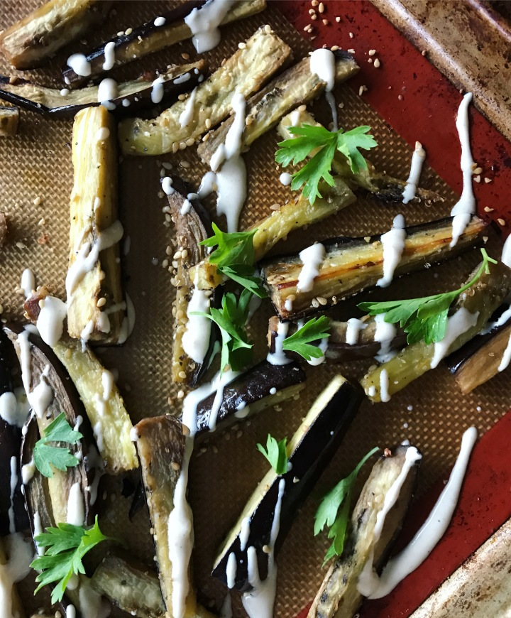 Eggplant Fries with Tahini Dressing